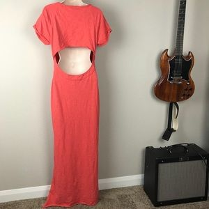 Free People 100% cotton coral open back slit dress